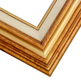 Warm Gold Picture Frame WIth Antique FInish And Built-In Linen Liner