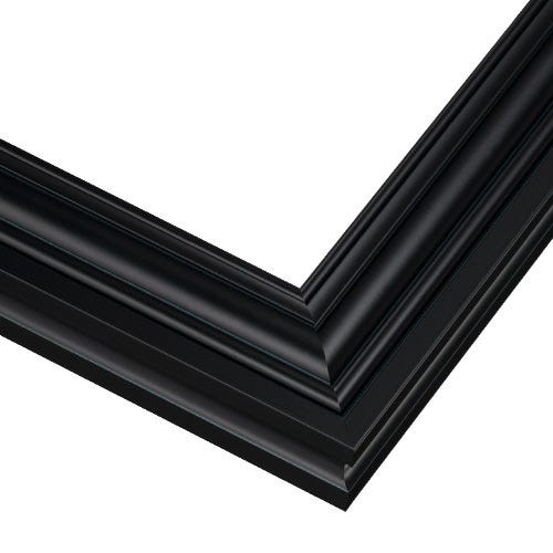 Black Metal Picture Frame With Satin Finish And Curved Edges