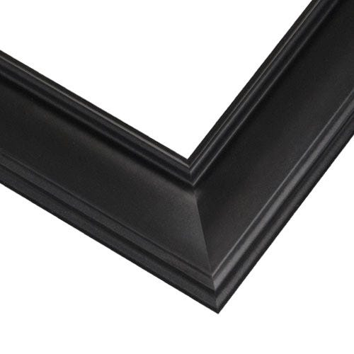 Classic Black Picture Frame With Ribbed Inner Lip and SCooped Edge