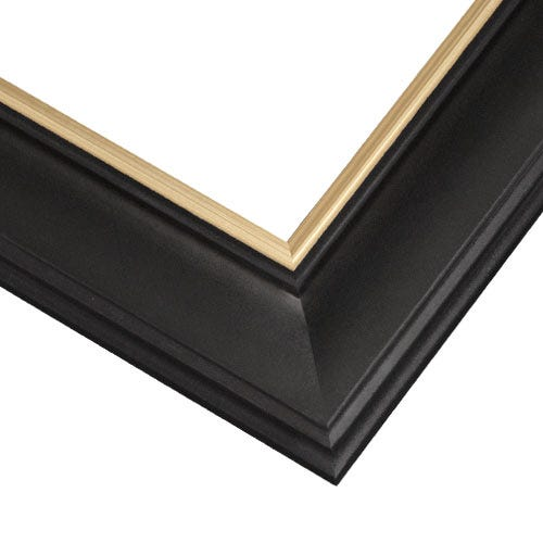 Classic Black Picture Frame With Gold Inner Lip And Satin Finish
