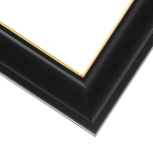 Black Picture Frame With Satin Finish And Gold Rim