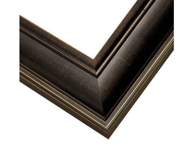 Espresso Picture Frame With Muted Gold Edges