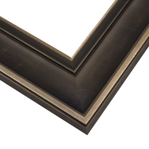 Black Picture Frame With Highlighted Antique Silver Edges