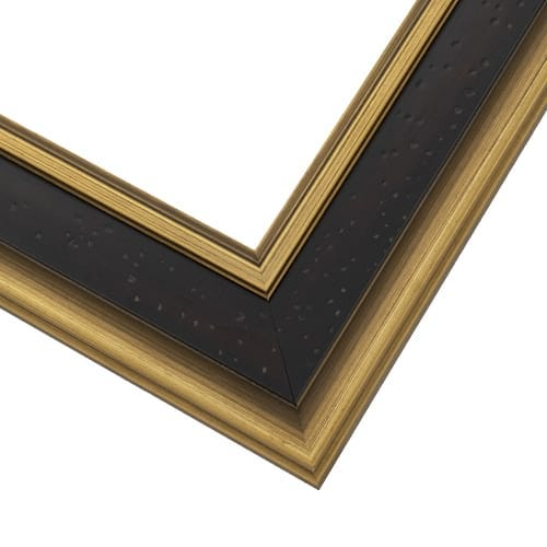 Espresso Picture Frame With Brushed Antique Gold And Raised Edges EXM2