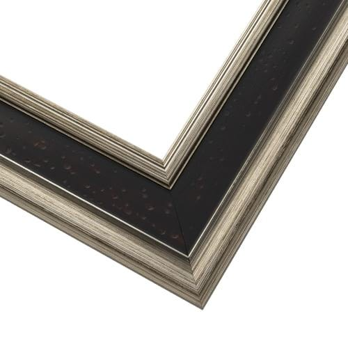 Espresso Picture Frame With Antique Silver Highlights And Scoop Profile EXS3