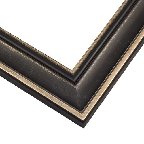 Modern Black Picture Frame With Antique Silver HIghlights EXS3