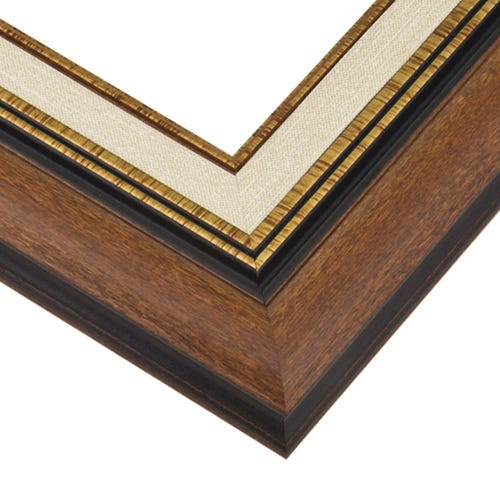 Walnut Picture Frame With Built-In Liner And Gold Fillets, Profile Diagram Drawing
