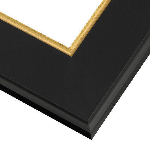 Black Picture Frame With Flat Face And Gold Inner Lip GG1