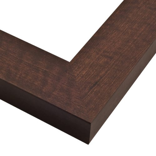Deep Walnut Finished Picture Frame With Wood Grain Design And Flat Profile