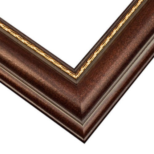 Walnut Picture Frame With Gold Inner Lip And Curved Profile G