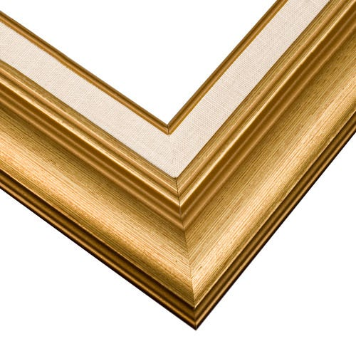 Brushed Gold Picture Frame With Laid-In Linen Liner And Curved Profile J7