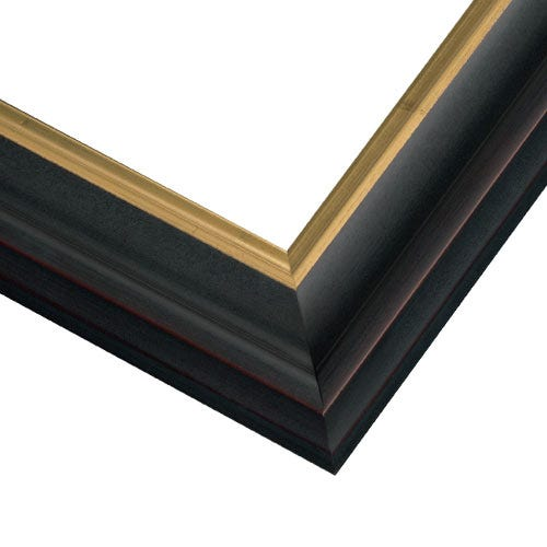 Black Wood Picture Frame With Satin Finish And Brushed Gold Inner Edge JCM2