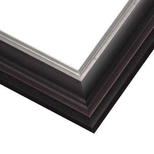 Black Wood Picture Frame With Satin Finish And Brushed Silver Inner Edge JCM3