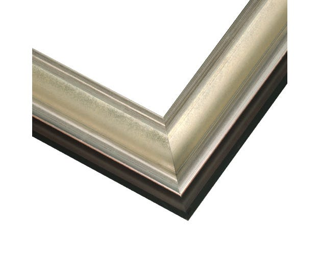 Silver Wood Picture Frame With Silver Leaf Finish and Black Siding JCM5