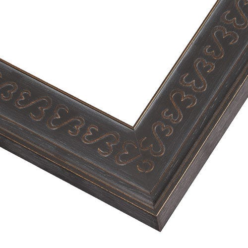 Modern Black Picture Frame With Embossed Open Heart Insignia JHM3
