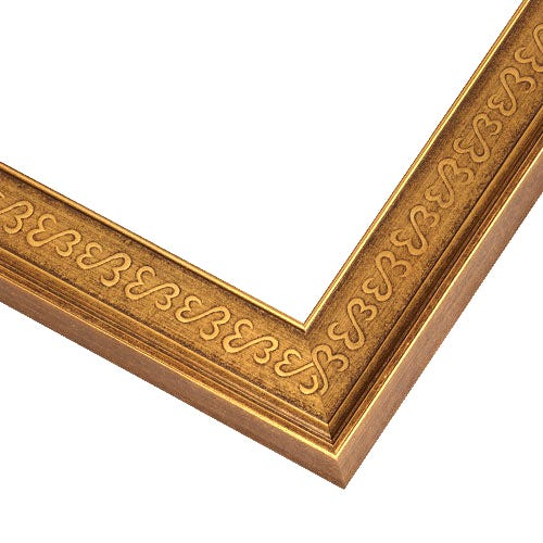 Antiqued Gold Picture Frame With Open Heart Design And Raised Rim JHS2