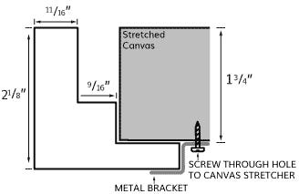 Modern Black Canvas Floater Frame With Smooth Black Finish, Profile Diagram Drawing