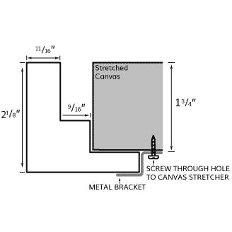 Lightly Brushed Bronze Canvas Floater Frame with Smooth Finish, Profile Diagram Drawing