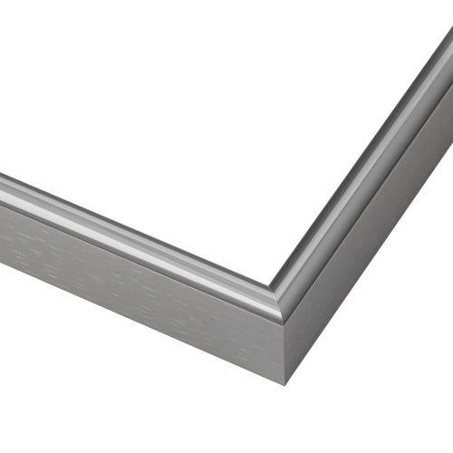Silver Metal Frame With Brushed Sides and Narrow Rounded Profile LUS4