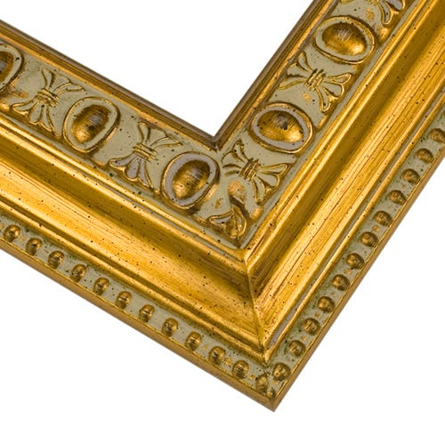 Ornate Yellow Gold Picture Frame With Raised Details and Beading MQ10