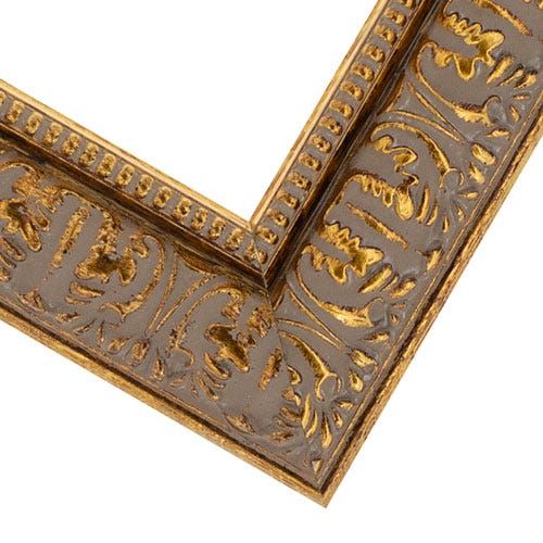 Ornate Antique Gold Picture Frame WIth Beading And Raised Relief MQ11