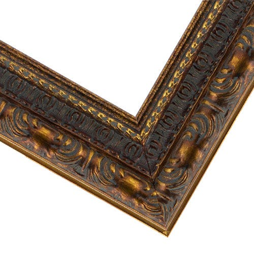 Ornate Gold Picture Frame With Dark Patina And Red Accents MQ18