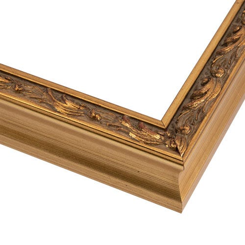 Antiqued Gold Wood Picture Frame With Patina Wash and Raised Relief OLC5