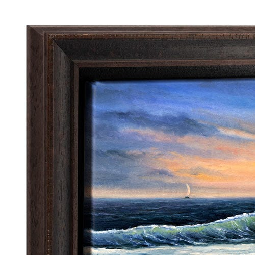 Rustic Dark Wood Canvas Floater Frame With Light Distressing OLCF2