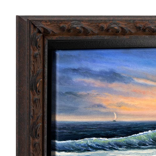 Rustic Dark Canvas Floater Frame With Rust Colored Highlights OLCF4