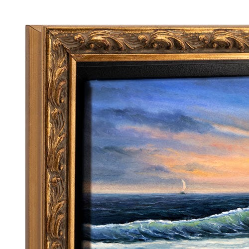 Antique Gold Canvas Floater Frame OLCF5 with Patina Wash and Brushed Gold