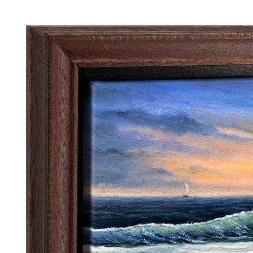 Reddish Brown Canvas Floater Picture Frame With Subtle Weathering OLCF7