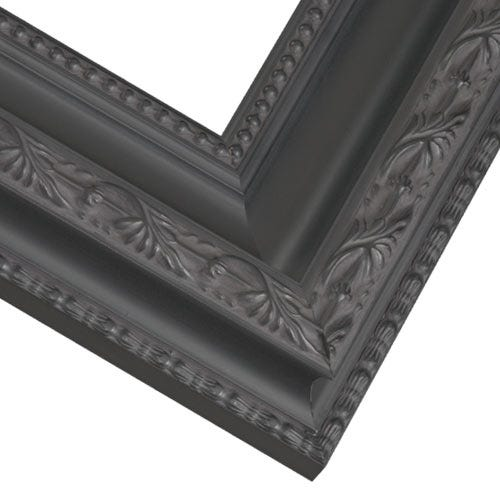 Ornate Black Picture Frame With Leaf Etching, Beading and Patina Wash PAZ12