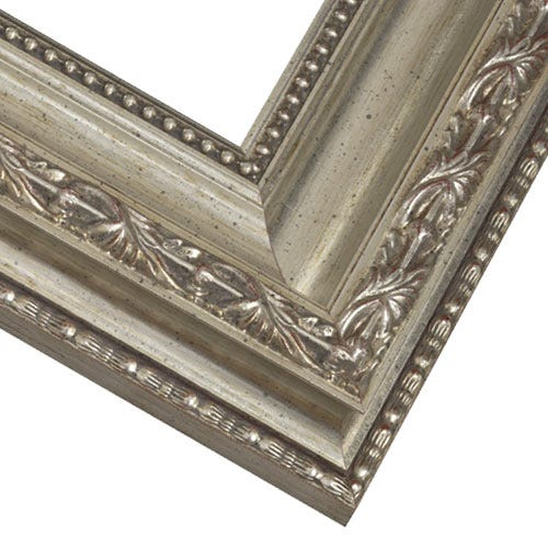 Antiqued Silver Picture Frame With Etched Leafs, Beading and Patina Wash PAZ13