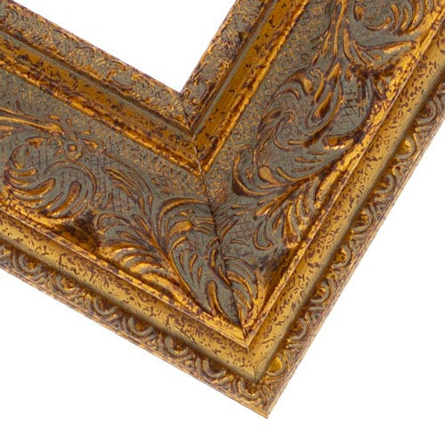 Gold Wood Picture Frame WIth Raised Relief Pattern and Espresso Accents PAZ2
