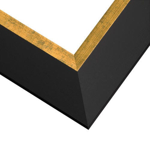 Classic Black Picture Frame With Brushed Gold Inner Lip PL6
