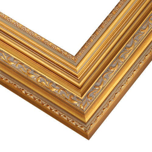 Ornate Gold Picture Frame WIth Soft Gray Patina Wash RM2