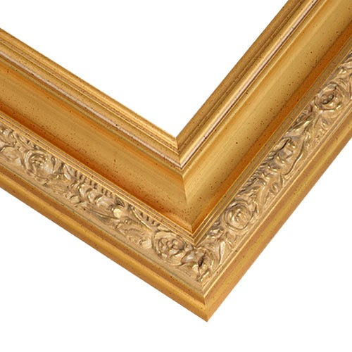 Gold Ornate Picture Frame With Soft Gold Leaf And Patina Wash RNR6