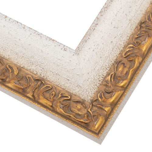 Gold And White Ornate Picture Frame With Botanical Relief RNR9