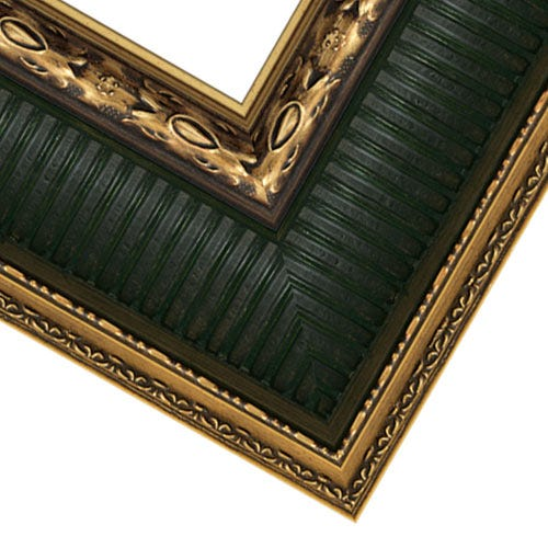 Dark Antique Gold Finish Picture Frame With Green And Bronze Accents RR10