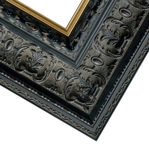 Black Ornate Picture Frame With Patina Wash And Gold Inner Lip RR4