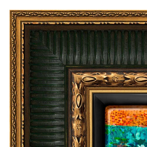 Ornate Canvas Floater Picture Frame With Gold Trim and Green Accents RRF10