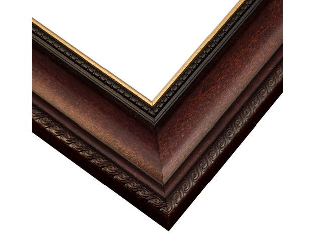 Cherry Wood Picture Frame With Curved Profile And Gold Inner Lip R