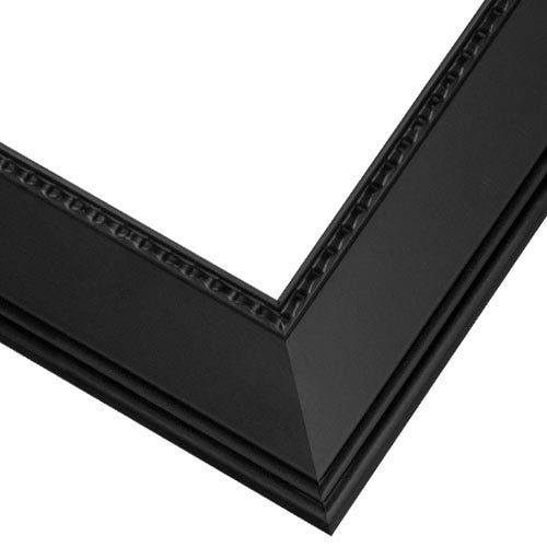 Elegant Black Satin Picture Frame with Angled Profile and Raised Details SA3