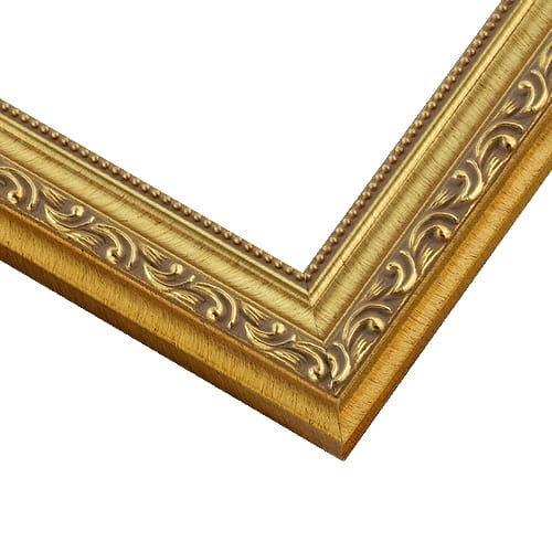 Ornate Gold Picture Frame With Relief Details and Beaded Inner Lip SL10