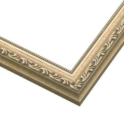 Silver Wood Picture Frame With Relief Details And Beaded Inner Lip SL12