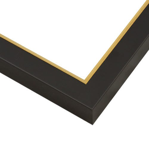 Black Wood Picture Frame With Satin Finish And Gold Brushed Lip SLW17