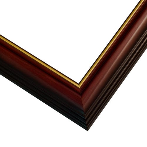 Cherry Wood Picture Frame With Gold Inner LIp And Lacquer Finish SLW2