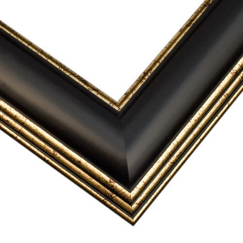 Black Wood Picture Frame with Satin Finish And Soft Gold Details SM2