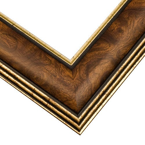 Traditional Wood Picture Frame with Walnut Burl and Gold Accents SM5