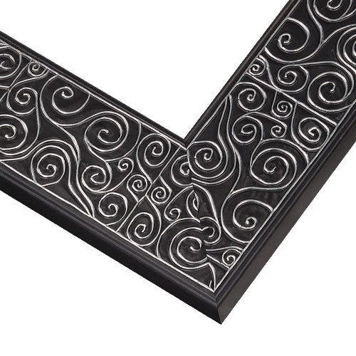Black Wood Picture Frame with Raised Silver Swirls TL2